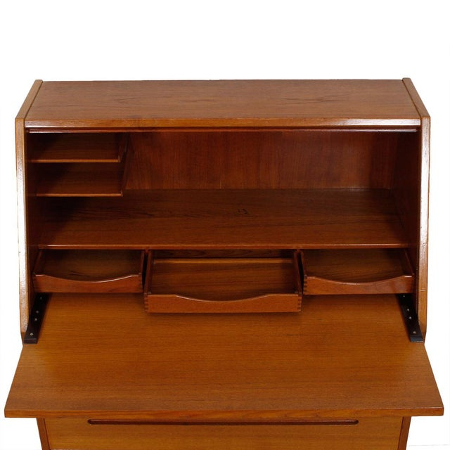 Danish Modern Teak Drop Front Secretary Desk - Image 2 of 10