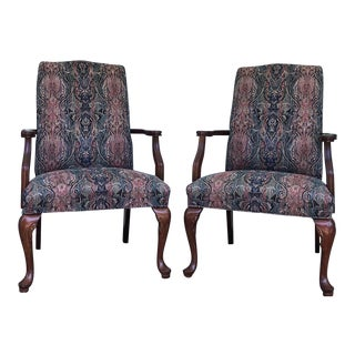 Vintage Fairfield Furniture Queen Anne Goose Neck Chairs - a Pair For Sale