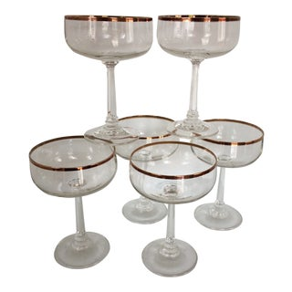 Tall Antique Crystal Gold Rim Champagne Glasses - Set of 6 For Sale