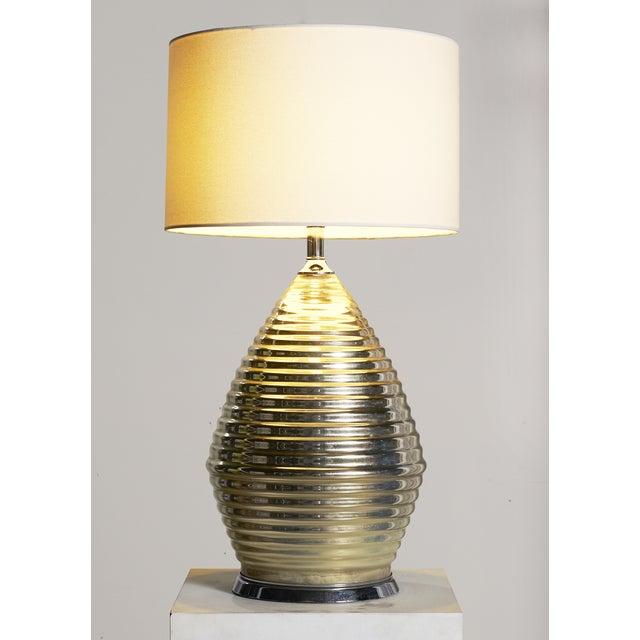 Large Honeycomb Mercury Glass Lamp For Sale - Image 4 of 5