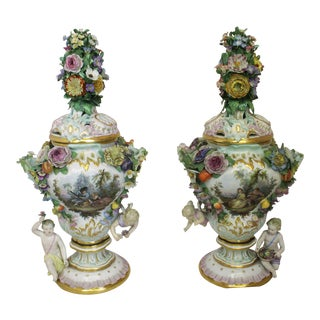 Meissen Floral Urns - a Pair For Sale