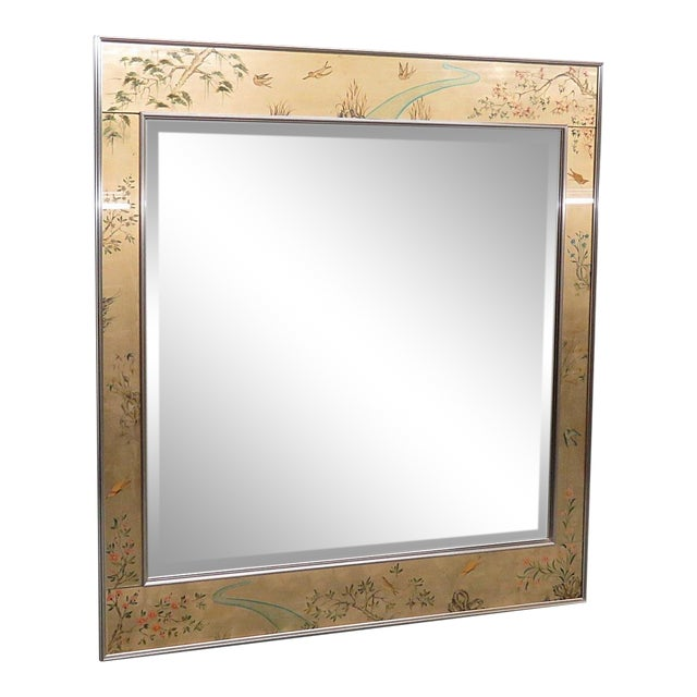 LaBarge Asian inspired beveled mirror with an aluminum frame with reversed painted glass.