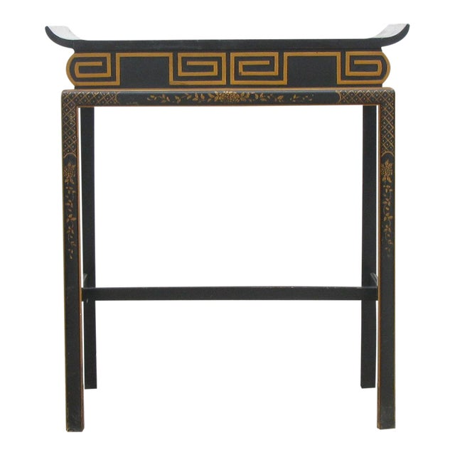 Chinoiserie Black Lacquer Accent Table For Sale