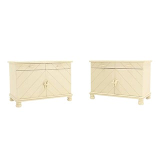 Pair of White Textured Paint Nightstands For Sale