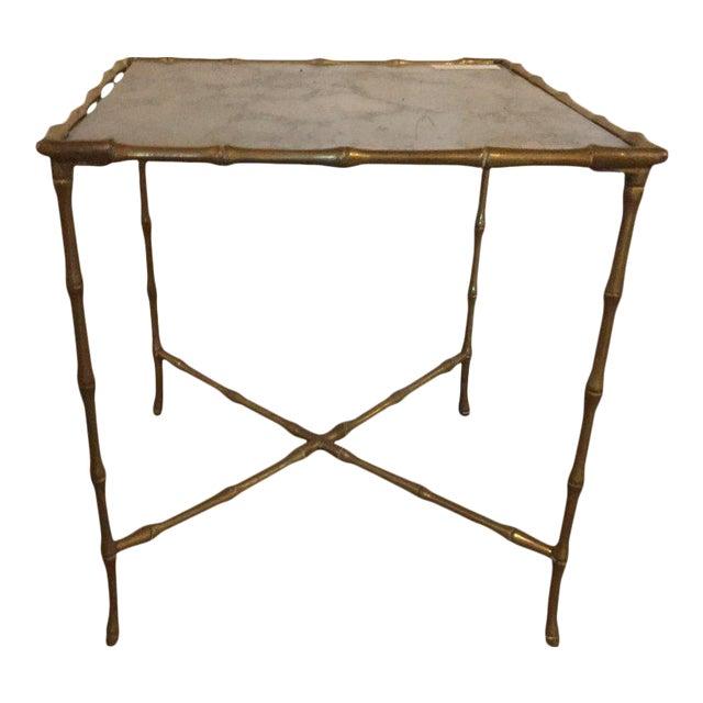 Luxury Hollywood Regency Gilt Bronze Faux Bamboo End Table With Gilt - Bamboo end table glass top