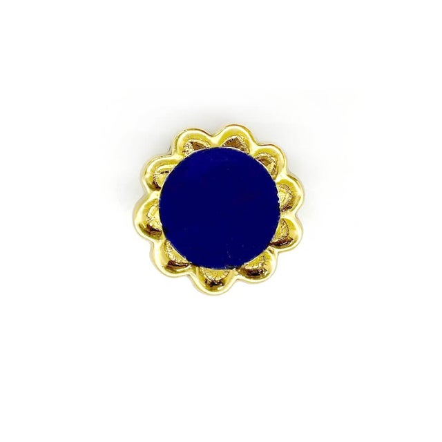 Boho Chic Addison Weeks Michelle Nussbaumer Large Enamel Knob, Brass & Navy For Sale - Image 3 of 5