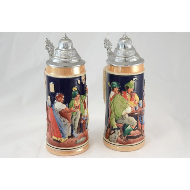 Oktoberfest Ceramic & Pewter Lidded Beer Steins - a Pair For Sale - Image 4 of 9