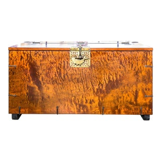 1960s Asian Burl Wood Trunk For Sale