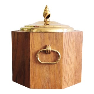 Vintage Wooden and Brass Ice Bucket For Sale