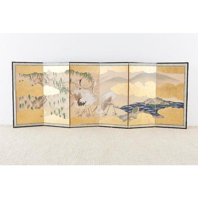 Metal Pair of Japanese Six Panel Meiji Crane Landscape Screens For Sale - Image 7 of 13