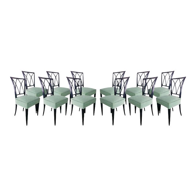 Maurice Hirsch Exceptionnal 1940s Set of 12 Chairs Newly Upholstered For Sale