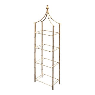 Vintage Pagoda Gilt Metal Eterege Faux Bamboo