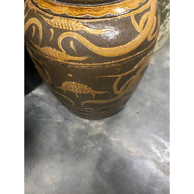 "Metal Antique Chinese Ceramic ""Dragon"" Pot For Sale - Image 7 of 9"