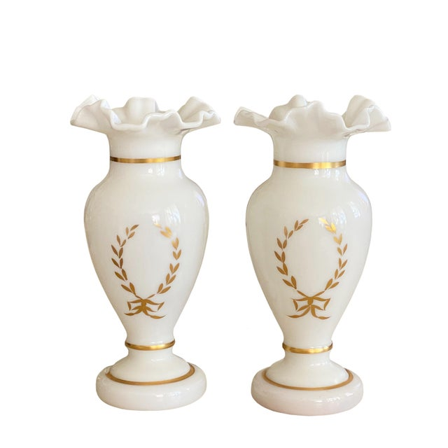 Antique White Antique White and Gilt Opaline Vases - a Pair For Sale - Image 8 of 8