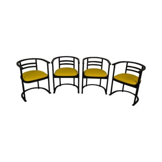Danish Modern Set 4 Black & Yellow Curved Back Dining Chairs For Sale