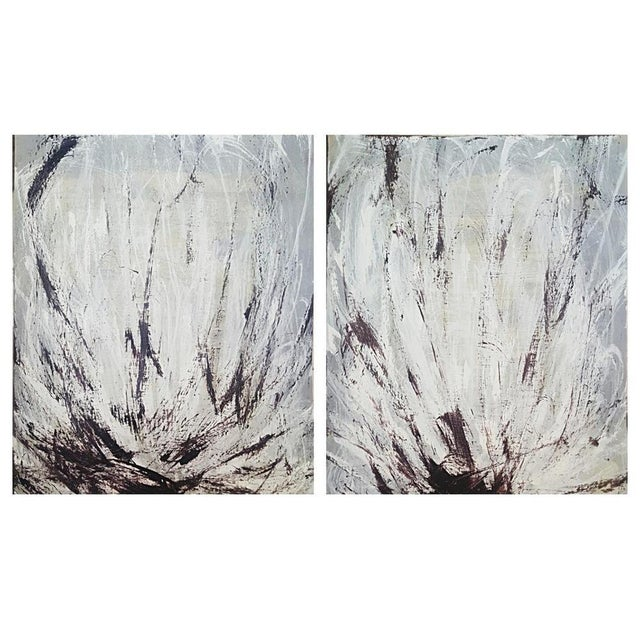 """Lotus Diptych"" Painting by ArtSeya - Pair - Image 3 of 3"