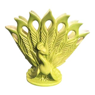 Vintage Royal HaegerAvocado Green Ceramic Peacock Sculpture Vase Planter For Sale