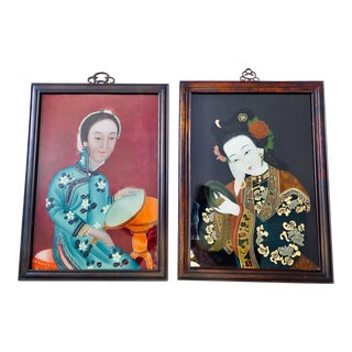 Chinoiserie Reverse Glass Chinese Painting Portraits - a Pair For Sale