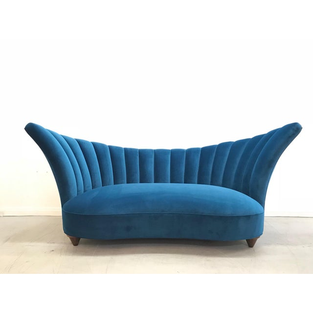 1960s Art Deco Asymmetrical Blue Upholstereed Channel Back Sofa For Sale - Image 9 of 9