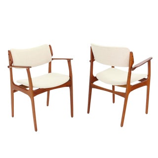 Danish Mid-Century Modern Arm Dining Chairs - a Pair For Sale