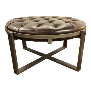 Modern Brown Leather and Gray Metal Tufted Cocktail Ottoman For Sale