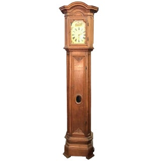 French Oak Long Case Clock With Original Painted Wood Dial, 18th Century For Sale