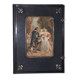 Fine 19th Century Watercolor in a Presentation Frame W/ Sterling Mounts For Sale