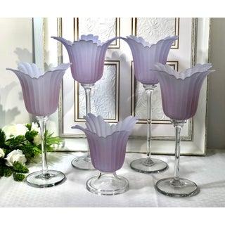 Vintage 5 Pc Glass Flower Candle Holder Lavender - Set of 5 Preview