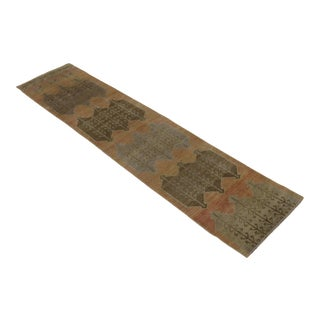 "1950's Vintage Turkish Hand-Knotted Runner-2' X 8'9"" For Sale"