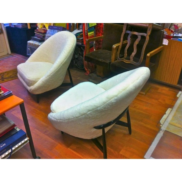 Mid-Century Modern Theo Ruth for Artifort, 1950s Chairs, Newly Reupholstered in Wool Faux Fur For Sale - Image 3 of 6