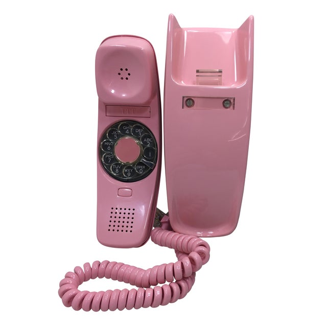 ITT Rotary Trendline Pink Wall Telephone, 1969 For Sale
