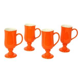 Vintage Ceramic Handled Orange & White Mugs, Set of 4 For Sale