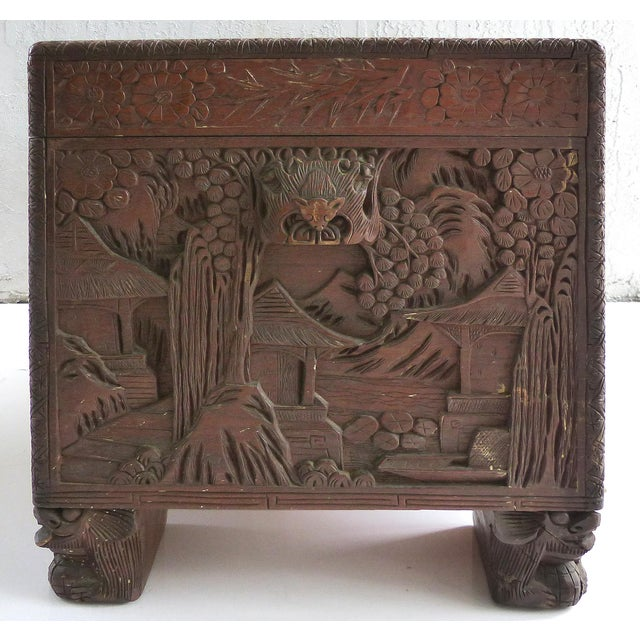 Chinese Teak & Cedar Carved Chest For Sale In Miami - Image 6 of 13