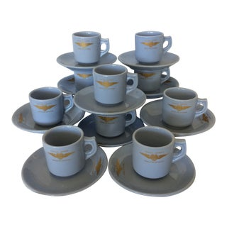 "Very Rare Vintage Set of Vista Alegre Impact Baby Blue Portuguese ""Forca Aerea Messe De Oficiais"" Demitasse Cups & Saucers -Set of 10"