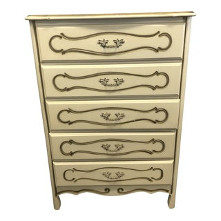 Vintage French Provincial White & Gold Painted Wood Dresser For Sale