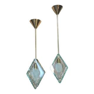 Brass Hanging Italian Art Glass Pendants - a Pair For Sale