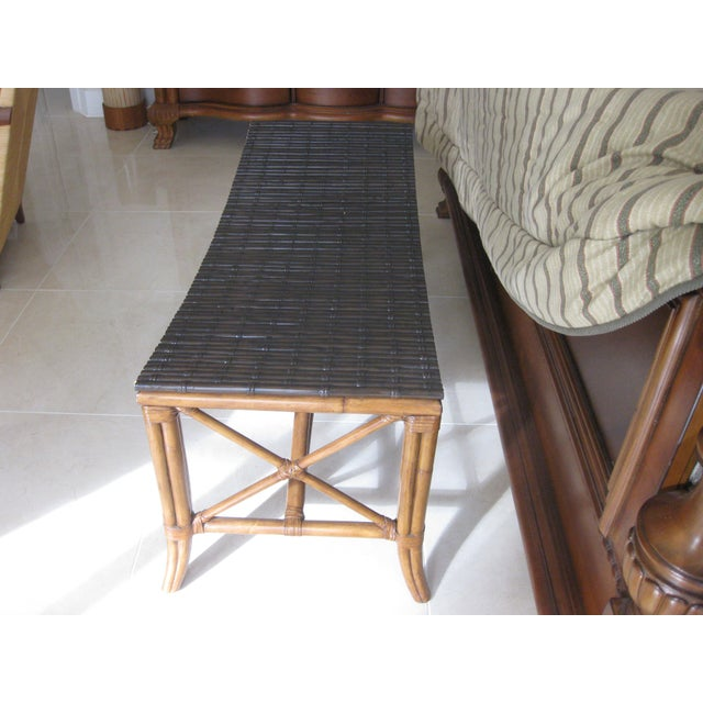 Asian Palecek Rattan Bench For Sale - Image 3 of 6