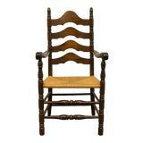 Image of Late 20th Century Ethan Allen Antiqued Pine Old Tavern Ladder Back Dining Arm Chair For Sale