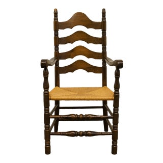 Late 20th Century Ethan Allen Antiqued Pine Old Tavern Ladder Back Dining Arm Chair For Sale