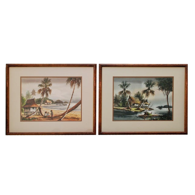Vintage Polynesian Watercolor Paintings - A Pair For Sale