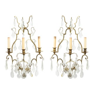 French Louis XV Style Bronze and Crystal Wall Sconces For Sale