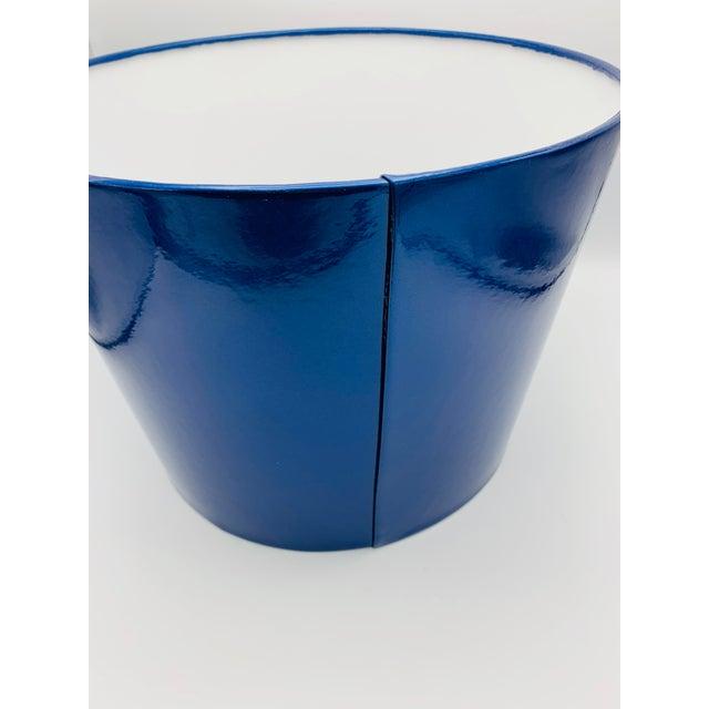 Metal Custom Metallic Blue Vinyl Lampshade For Sale - Image 7 of 8