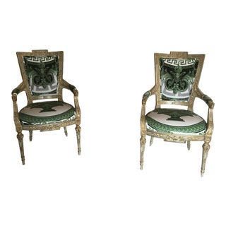 Gianni Versace Velvet Upholstery Maitland Smith Accents Chairs - a Pair For Sale