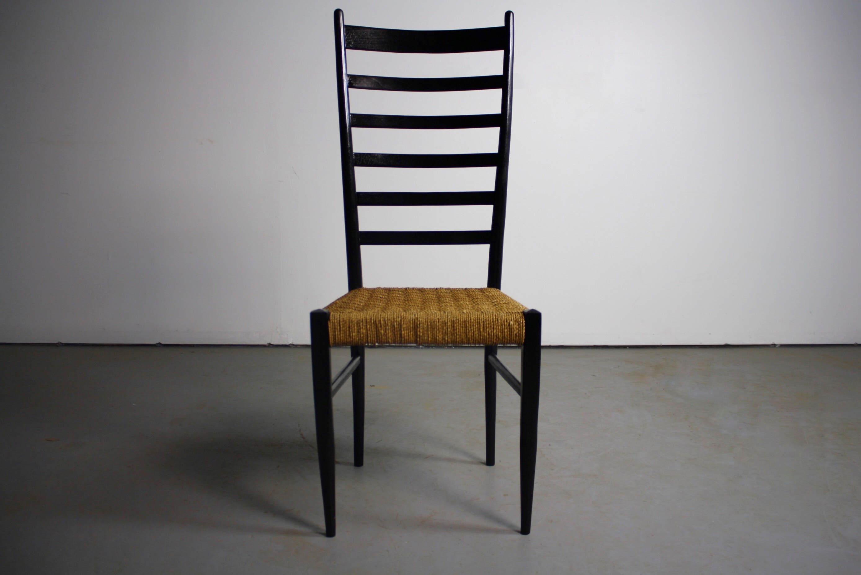 Gio Ponti Italian Modern Woven Rope Seat U0026 Ladderback Chair   Image 2 ...