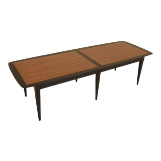 Mid Century Teak and Black Lacquer Two-Tone Coffee Table For Sale