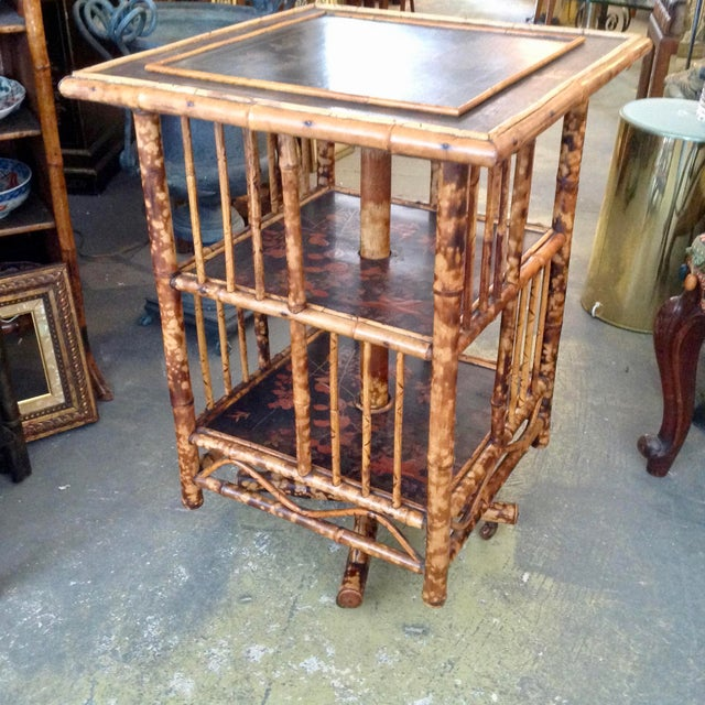 Chinoiserie Bamboo Revolving Bookcase For Sale - Image 4 of 13