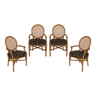Caned McGuire Style Armchairs- Set of 4 For Sale