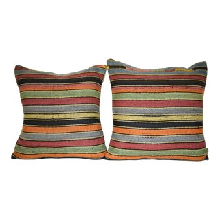 Pair Turkish Striped Kilim Pillow, Mid Century Design Cushion Cover, Ethnic Cushion Cover 20'' X 20'' (50 X 50 Cm) and 18'' X 18'' (45 X 45 Cm) For Sale