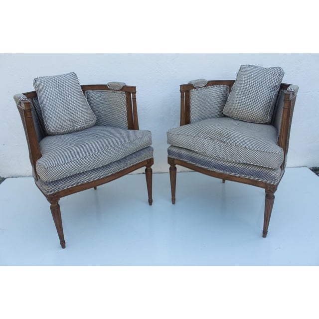 French Hollywood Regency Cane Back Barrel Accent Chairs