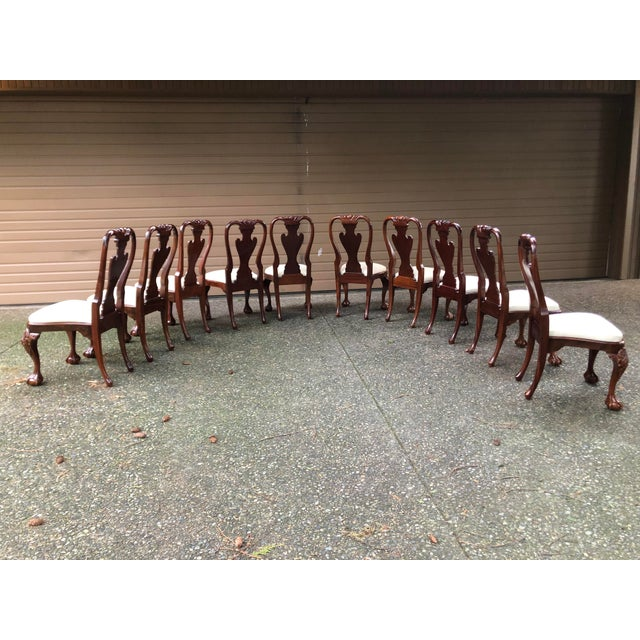 Early 20th Century Vintage Queen Anne Burl Walnut Dining Chairs - Set of 10 For Sale - Image 9 of 11